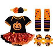 iiniim Baby Girl's Halloween Pumpkin Tutu Romper Outfits with Headband Leg Warmer Shoes Pumpkin Outfits 0-3 Months