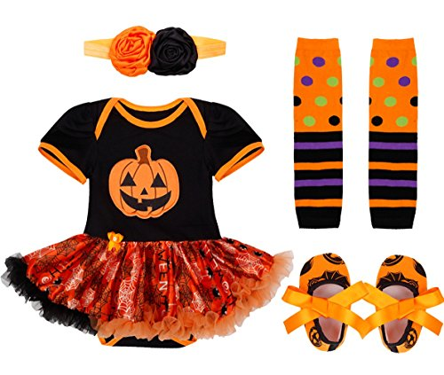 [TiaoBug 4Pcs Infant Baby Girls Halloween Pumpkin Romper with Headband Leg Warmer Shoes Costume Outfits Orange, Black 0-3] (Baby Girl Witch Halloween Costumes)