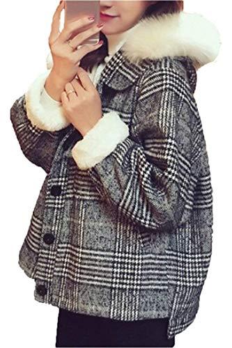 Grueso Relaxed Manga Largo Retro Prendas Abrigos Termica Casual Bildfarbe Con Terciopelo Elegantes Mujer Adelina Exteriores Capucha Casuales De Espesar Cómodo Invierno Piel Moda Outerwear qzXfnZY