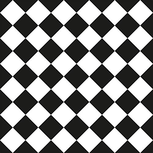 WallsByMe Peel and Stick Black and White Checkered Removable Wallpaper 2326-2ft x 10.5ft (61x320cm) - WallFab - 7mil