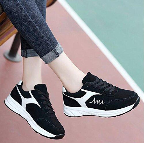 36 Las la Mujeres Zapatillas de Primavera Color Negro Primavera de de caída Zapatos Planos tamaño Deporte la la Corrientes Zapatos Zapatos de de q4gtBng