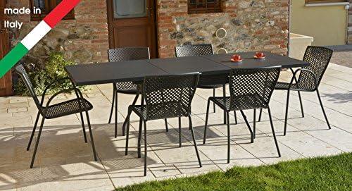 RD ITALIA Juego Mesa Extensible Summer L con 6 sillas Metal de ...