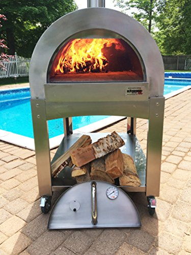 ilFornino Professional Series Wood Fired Pizza Oven - Thicker Gauge Stainless Steel- One-Flat-Cooking-Surface- Double Insulation - H-pipe Pro Chamber