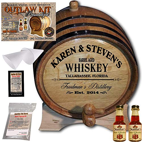 Personalized Whiskey Making Kit (063) - Create Your Own Irish Whiskey - The Outlaw Kit from Skeeter's Reserve Outlaw Gear - MADE BY American Oak Barrel - (Oak, Black Hoops, 1 Liter)