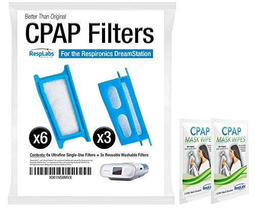 RespLabs CPAP Filters Compatible with Philips Respironics Dreamstation: 6X Single Use + 3X Reusable | Hypoallergenic, Exact Fit Machine Supplies