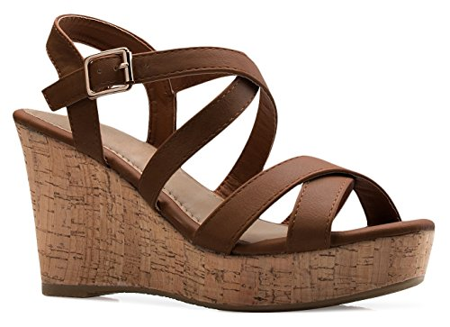 OLIVIA K Women's Open Toe Strappy Mid Wedge Heel Wood Decoration Buckle Shoes - Sexy Strappy Platform Shoes Mid