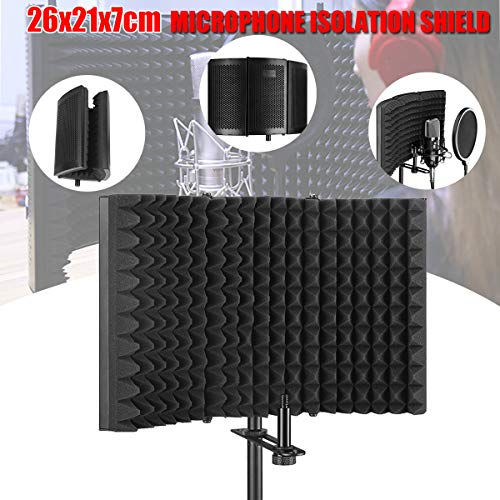 Professional Microphone Isolation Shield, Pop Filter, Studio Mic Sound Absorbing Foam Reflector for Any Condenser Microphone Recording Equipment Studio