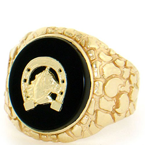 - 14k Solid Gold Nugget Oval Onyx Horseshoe Mens Ring