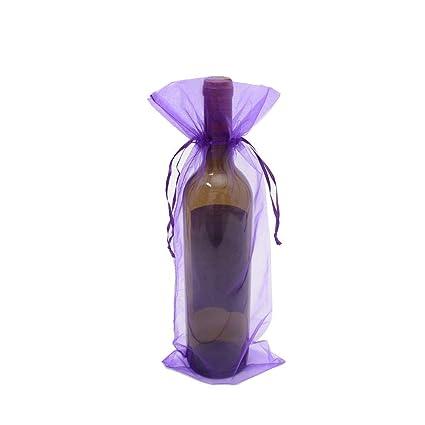 Aofocy 10 x Sheer Organza Bolsas de Regalo de Botellas de Vino para la Fiesta de Bodas Actuales - Púrpura