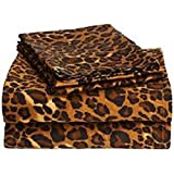 650-Thread-Count Egyptian Cotton 1 Fitted Sheet + 2 Pillow Case (+18 Inch) Deep Pocket Queen, Leopard Print