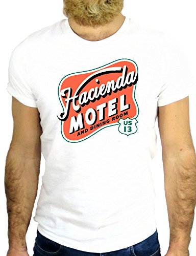 T SHIRT JODE Z1783 HANCIENDA MOTEL AMERICA US FUNNY COOL FASHION NICE GGG24 BIANCA - WHITE L