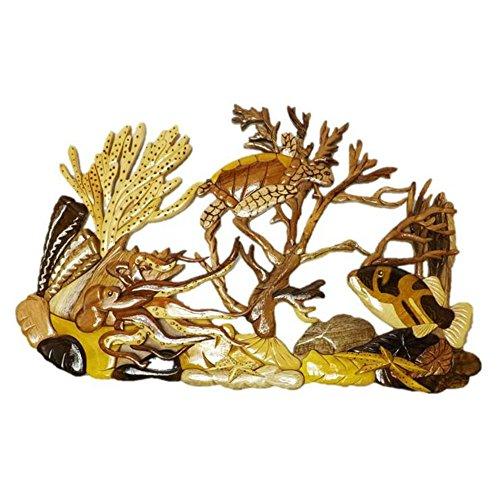 (Coastal Wood Factory Handmade Art Intarsia Wooden Wall Plaque - Coral Reef(1604))