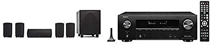 Definitive Technology ProCinema 6D + Denon AVR-X1600H Receiver - Compact 5.1 Channel Home Theater Speaker System (2019 Model) | Powered Subwoofer, Center Channel, 4 Speakers, 7.2 Channel AVR