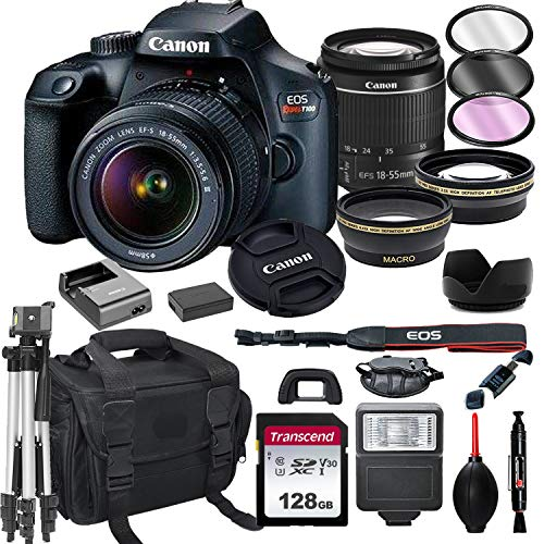 Canon EOS Rebel T100 DSLR Camera with 18-55mm f/3.5-5.6 Zoom Lens + 128GB Card, Tripod, Flash, and More (20pc Bundle)