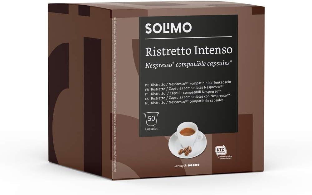 Marca Amazon - Solimo Cápsulas Ristretto Intenso, compatibles con Nespresso - 100 cápsulas (2 x 50)