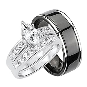 Amazon.com: His and Hers Wedding Rings Set Sterling Silver