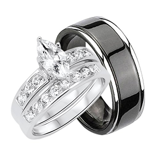 His and Hers Wedding Rings Set Sterling Silver Titanium Matching Bands for Him and Her (His And Hers Wedding Ring Sets Sterling Silver)