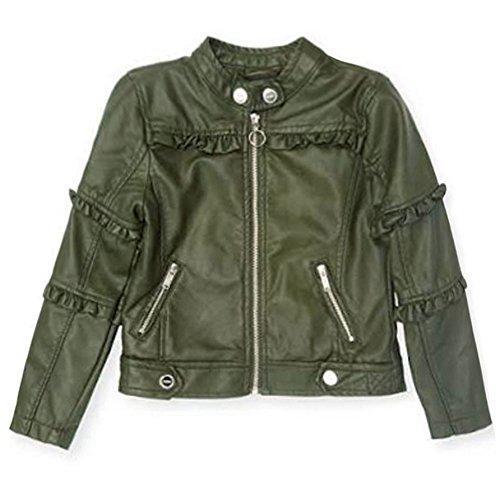 Urban Republic Big Girls Green Ruffled Faux Leather Motorcycle Jacket 8-16