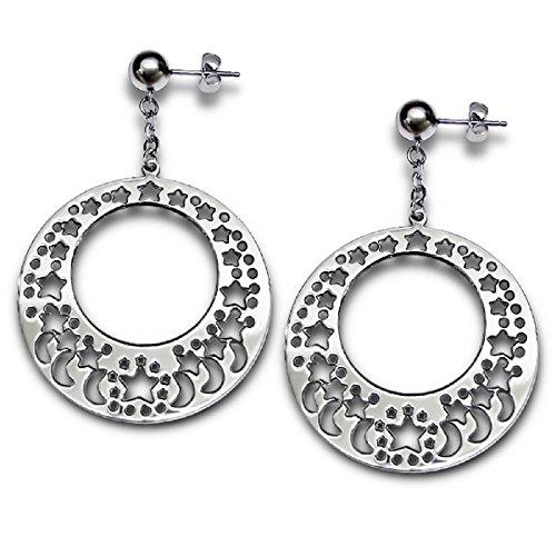 Stainless Steel Dangling Round Cutout Moon & Stars Stud Earrings 046
