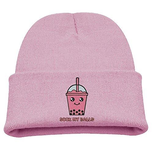 (Suck My Balls Kawaii Bubble Tea Unisex Kids Beanie Caps Pink)