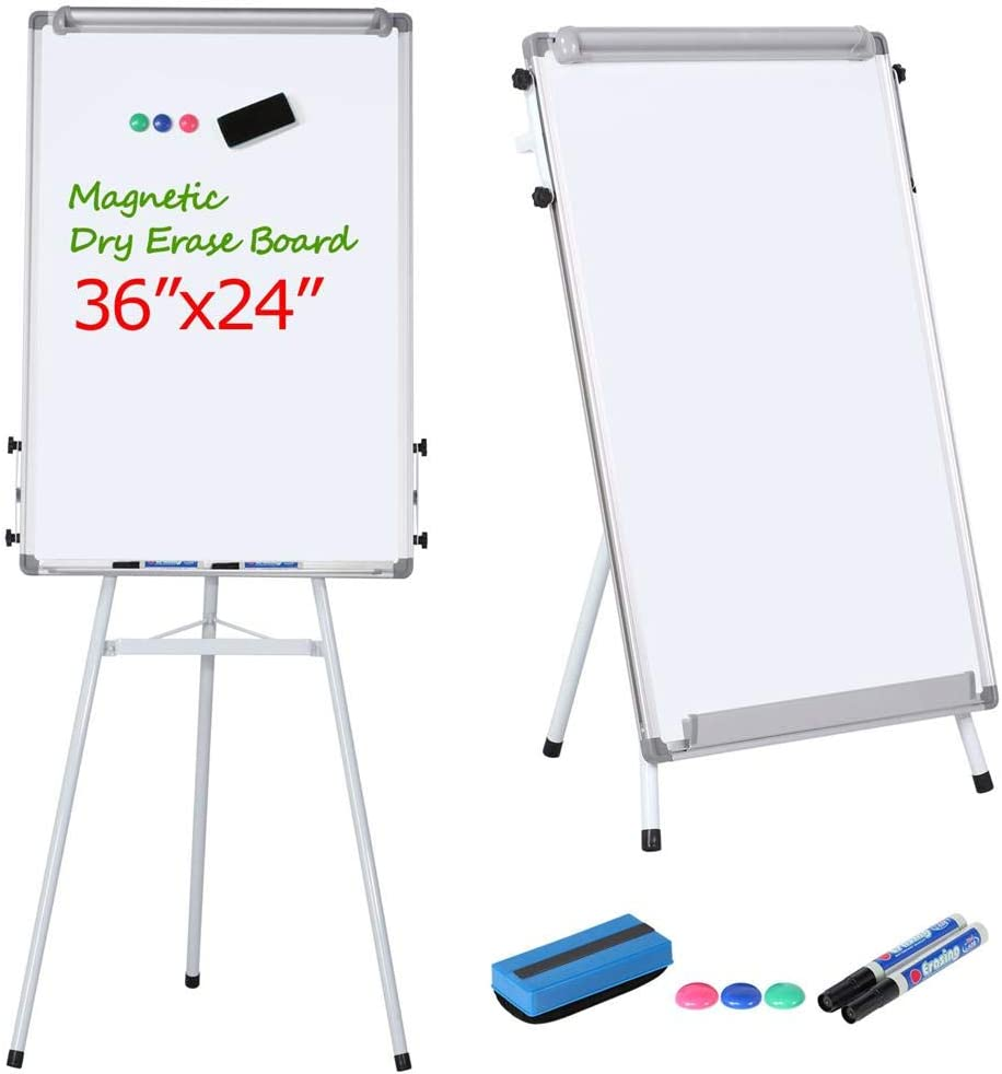 36*24 Magnetic Dry Erase Board Tripod Single-sided Mobile WhiteBoard with Stand