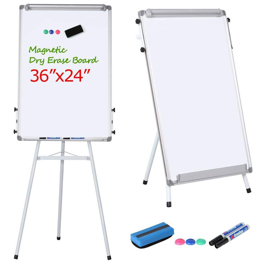Yaheetech Tripod Whiteboard Easel - White Board Stand 36 x 24'' Magnetic Dry Erase Board Tripod Easel Board Portable Flipchart Board White