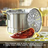 Surgical Stainless Steel Stock Pot Restaurant Healthy Vegetable Seafood Steamer Cooker 16 Quart Stockpot With Steam Rack And Coordinating Lids Safety Carrying Handles For Soup Stew Cooking Equipment