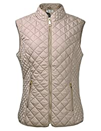 ZLYC Women's Lightweight Quilted Warm Jacket Jackets Vest with Zip Pocket