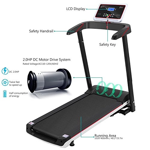Economical Foldable Small Electrical Cord Exercise Treadmill at Home Wide Mini Portable Incline Motorized [US STOCK] by Cosway