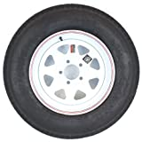 15'' x 5'' White Spoke with Red and Blue Pin Stripe Trailer Wheel with Bias AllStar ST20575D15C Tire Mounted (5-5'' Bolt Circle)