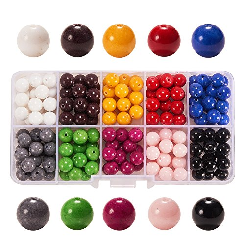 PH PandaHall 1 Box (about 180pcs) 10 Color 8mm Imitation Jade Round Loose Beads for Jewelry Making