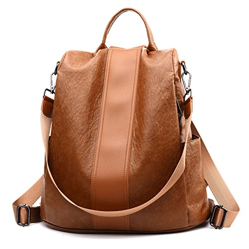 Women Backpack Purse Anti Theft Waterproof Detachable Covertible Casual Travel Shoulder Bag(Tan)