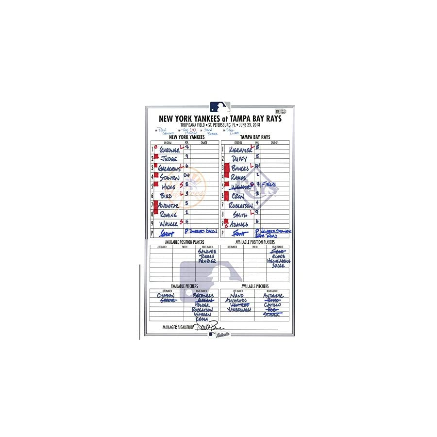 Yankees at Rays 6 23 2018 Game Used Lineup Card