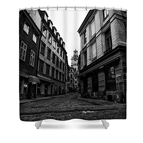 Pixels Shower Curtain (74'' x 71'') ''The Right Way Stockholm'' by Pixels