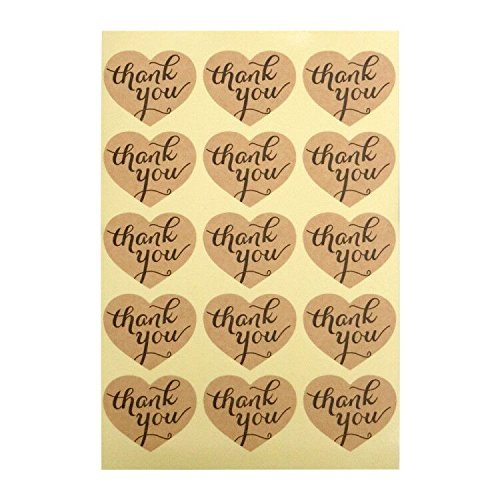 Stickers Box Favor (Thank You Stickers, G2PLUS Kraft Paper Thank You Label Stickers for Favors, Hang Tags, Gift Packaging (10 Sheets- Pack of 150 PCS Heart Shape Stickers))