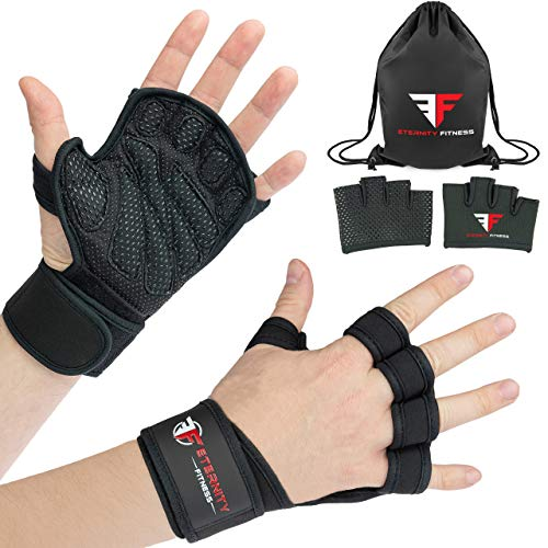 Gloves Leather Padded Bag (Eternity Fitness Workout Gloves for Weightlifting, Crossfit, Training (Bundle) Includes Added Grips and Gym Bag | Wrist Support, Padded Finger Protection for Lifting | Men, Women (Large, Small Logo))