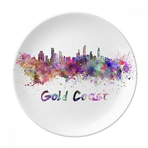 (Gold Coast Ghana Africa City Watercolor Dessert Plate Decorative Porcelain 8 inch Dinner Home)