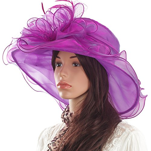 Original One Women's Organza Feathers/veil Party Occasion Event Kentucky Derby Church Dress Sun Hat Cap (Occasion Hats For Women)