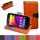 BLU Dash L D050U D050L Case,Mama Mouth [Stand View] Flip Premium PU Leather [Wallet Case] With Built-in Stand Credit Card / Cash Slots and Pocket Cover For BLU Dash L D050U D050L Smartphone,Orange