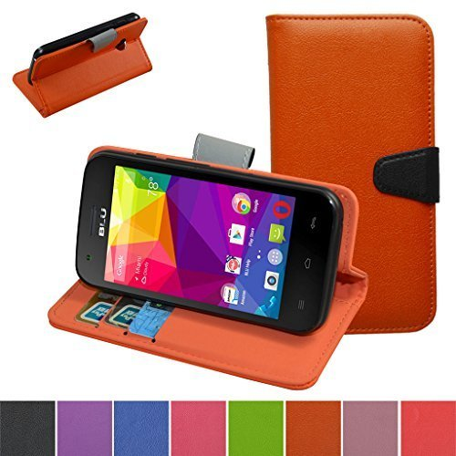 BLU Dash L D050U D050L Case,Mama Mouth [Stand View] Flip Premium PU Leather [Wallet Case] With Built-in Stand Credit Card / Cash Slots and Pocket Cover For BLU Dash L D050U D050L Smartphone,Orange by Bigmouthstore