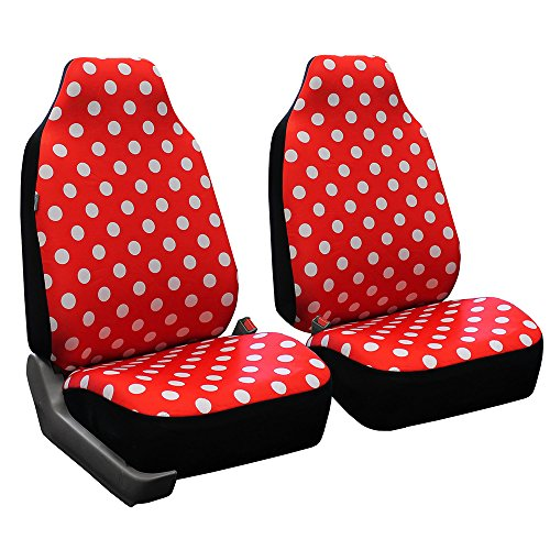 FH Group FB115RED102 Red Stylish Polka Dot Car Seat Cover, Set of 2 (High Back Front Set)