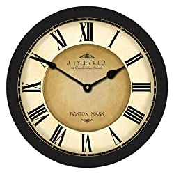 Galway Black Wall Clock, Available in 8 sizes, Most Sizes Ship 2 - 3 days, Whisper Quiet.