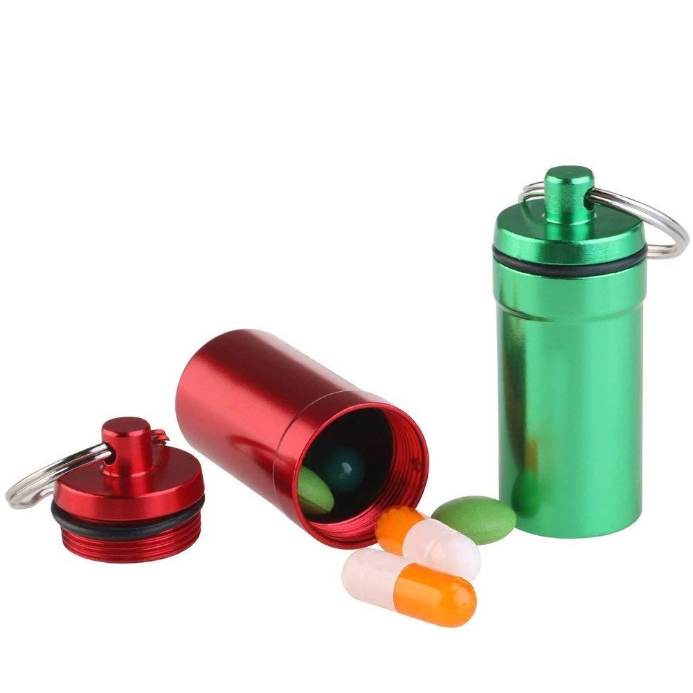 ASTARC Caja de Pastillas de aleaci/ón de Aluminio contenedor de impermeabilizaci/ón al Aire Libre 7 Piezas Llavero de Medicina Frasco de Pastillas de Primeros Auxilios