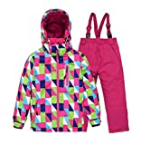 Tortor 1bacha Kid Girls' Diamond Print Snowsuit Ski Jacket and Pants Set Red 10-11