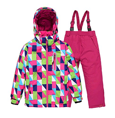 Tortor 1bacha Kid Girls' Diamond Print Snowsuit Ski Jacket and Pants Set Red 10-11 by Tortor 1Bacha