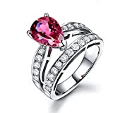 Womens Fashion 925 Silver Pear Cut Ruby Wedding Engagement Ring Size 7-9 Crown#by pimchanok shop (7)