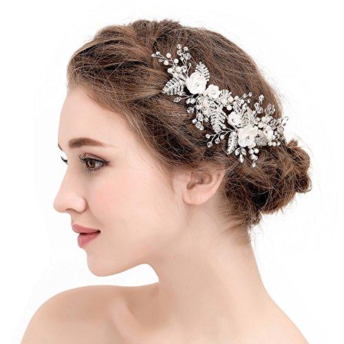 SWEETV Handmade Wedding Hair Clip Pin Pearl Comb Rhinestone Barrette Floral Women Hair Jewelry by SWEETV