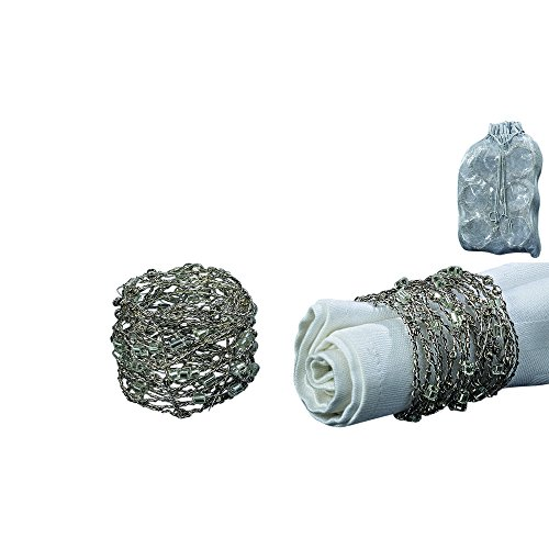 Whole House Worlds The Silver Smoke Crystal Beaded Napkin Rings, Set of 6, Handcrafted, Twisted Wire, Bugle and Seed Beads, Approx. 2 Inch D Each, Overall 7 1/2 Inch T Stacked in Drawstring Pouch