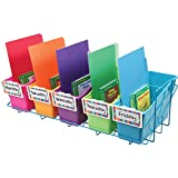 """Really Good Stuff Store More Book and Binder Holder 5-Bin Rack – Sturdy, Easy to Carry, Blue, 27.5""""x12""""x8"""