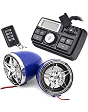12V Radio 3 inch Motorcycle ATV UTV Golf Cart Waterproof Anti-Theft Bluetooth Speaker USB TF U Disk FM Radio Stereo System (Silver Star&Blue)